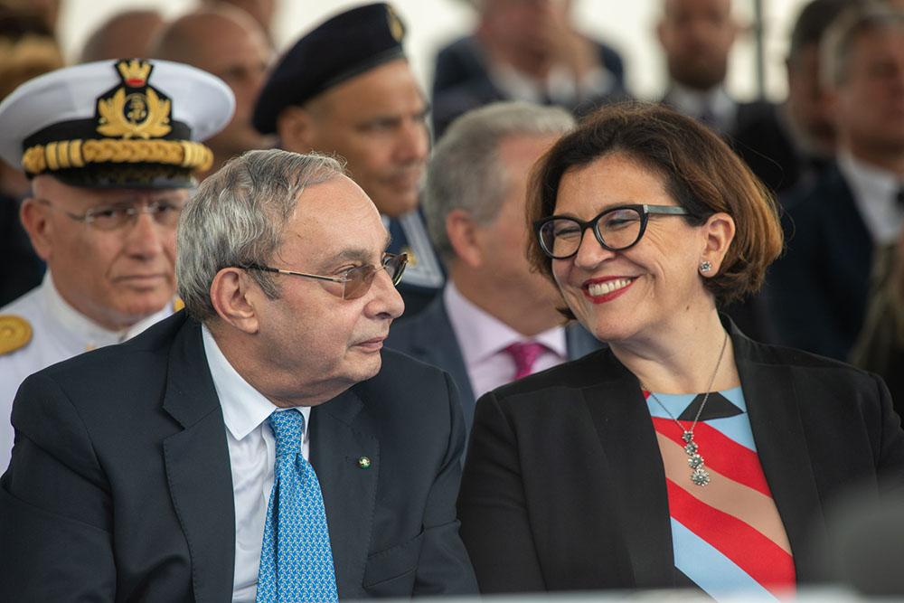 Giuseppe Bono e il ministro della Difesa, Elisabetta Trenta al varo di Paolo Thaon Di Revel