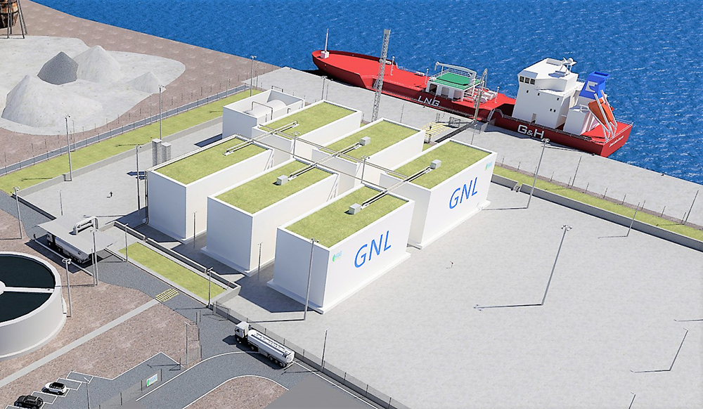 A view of the future Higas Oristano GNL project in the port of in Port of Santa Giulia