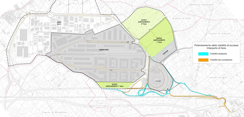 La mappa delle nuove aree di accesso dell'Interporto di Nola