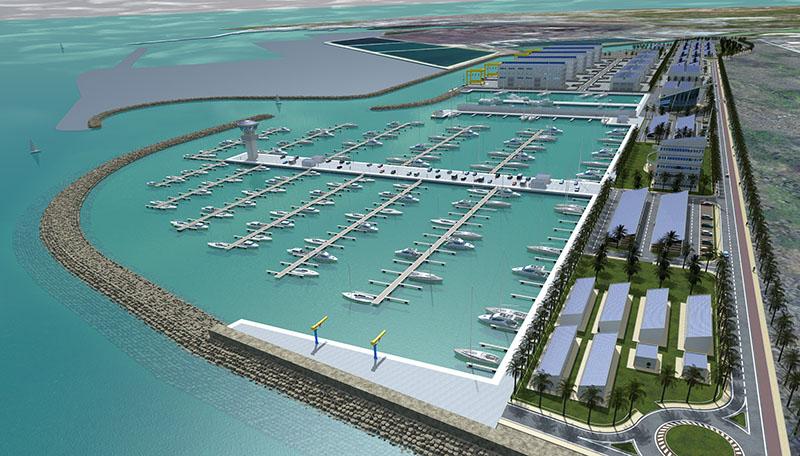 Render del futuro porto turistico di Piombino