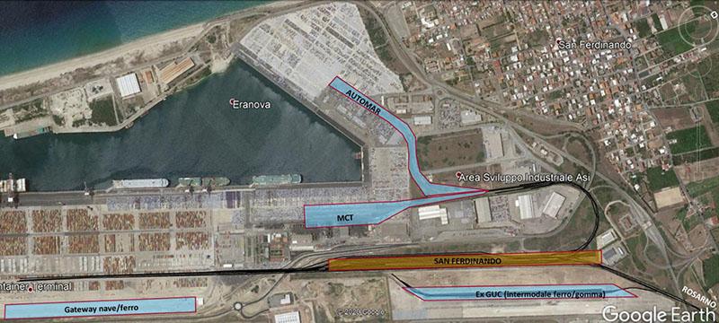 L'area del porto di Gioia Tauro adibita alle manovre ferroviarie